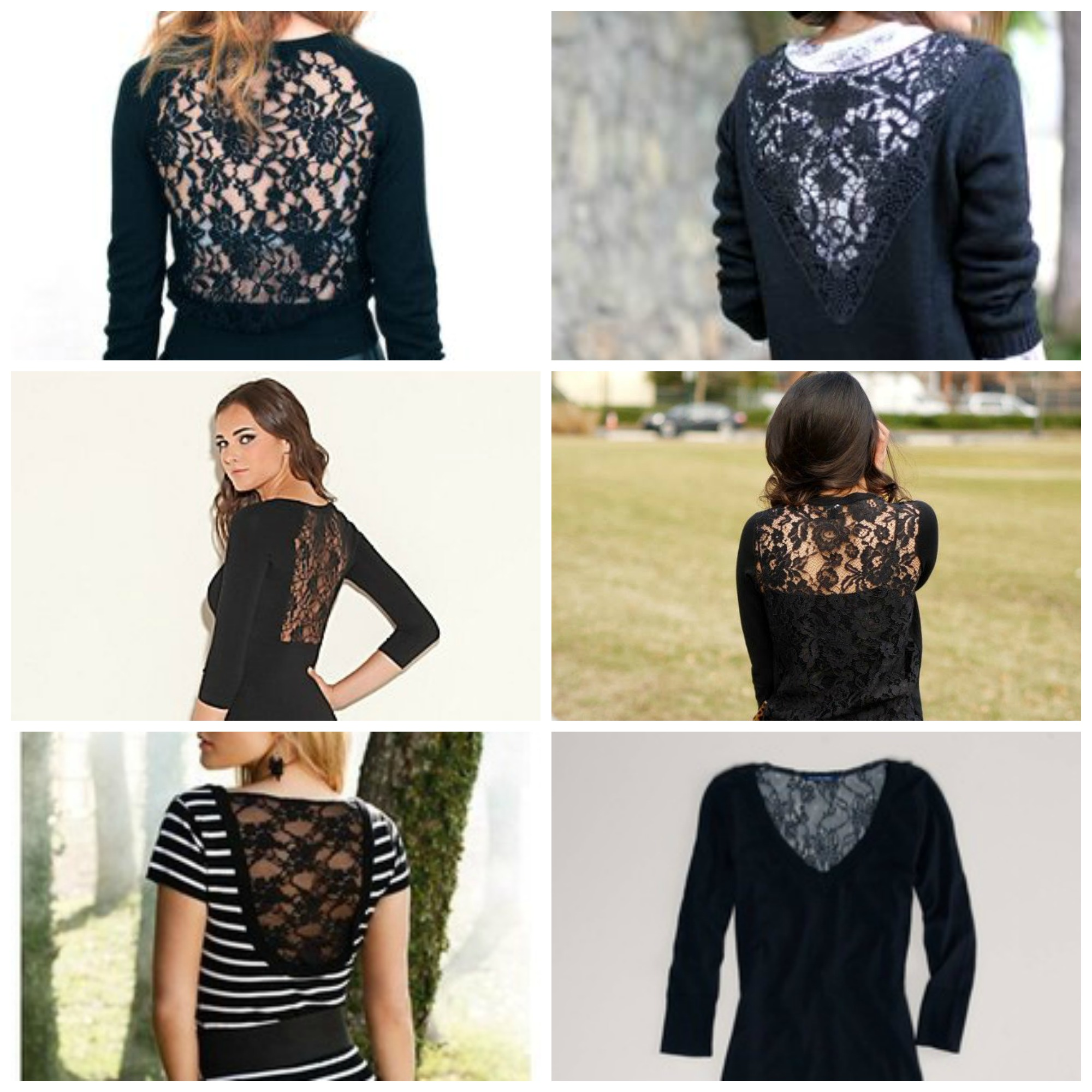 Sew: Lace Back Sweater Refashion {Inserting Lace into a Sweater DIY Tutorial}