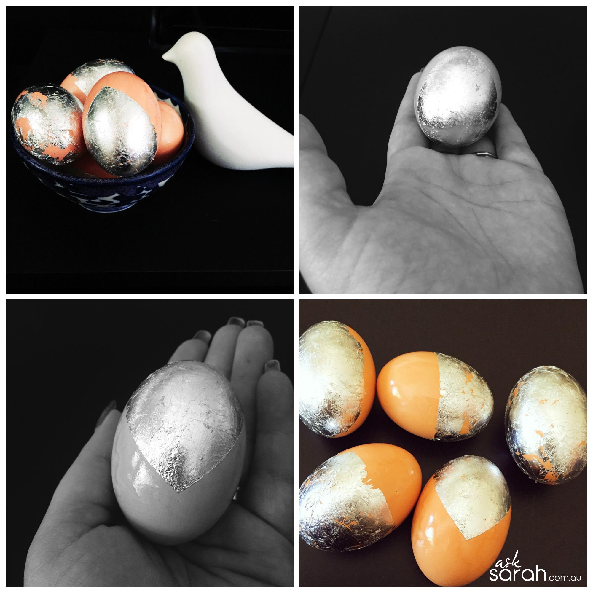 DIY Foiled Silver Easter Eggs {Silver Leaf Eggs}