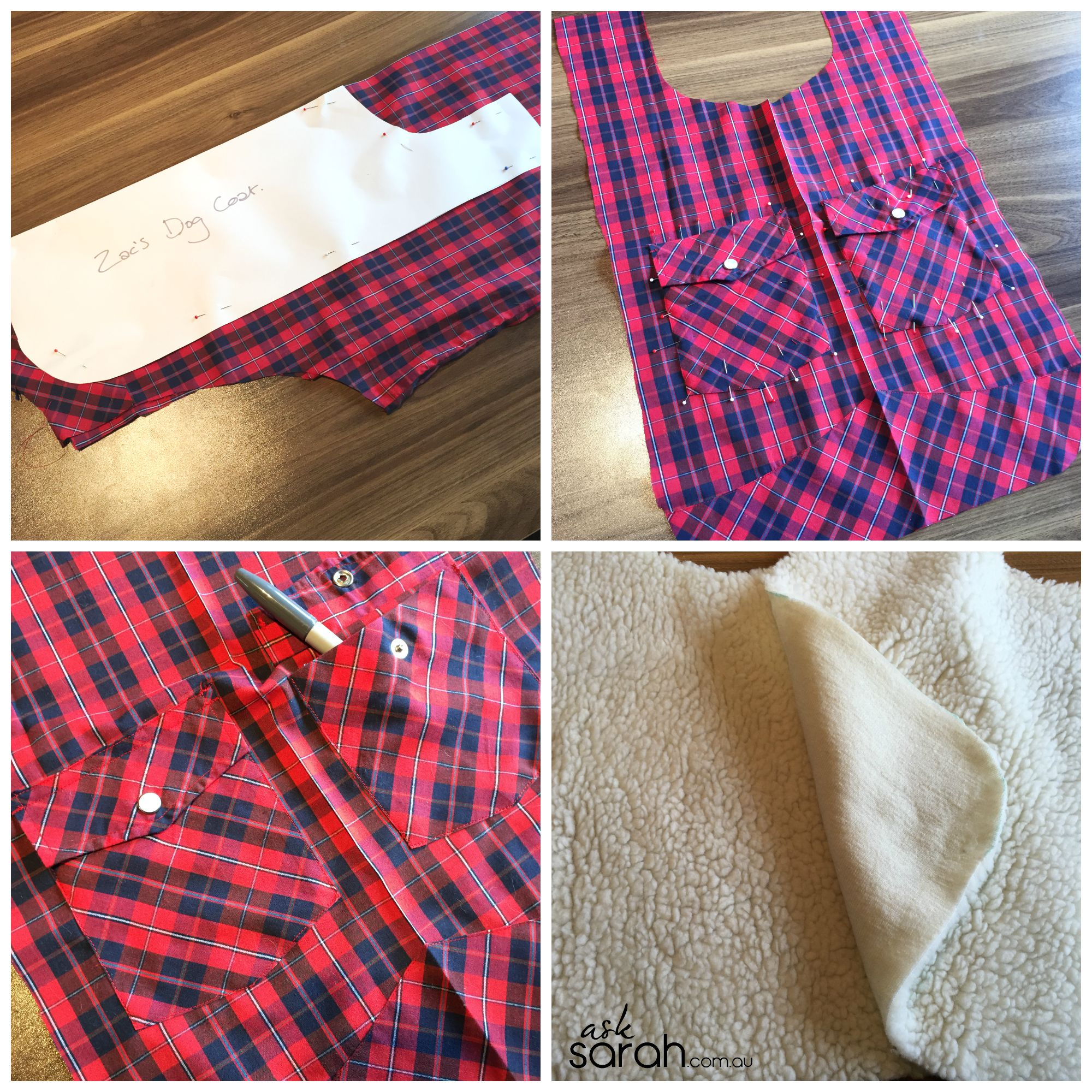 Sew: DIY Custom Fit Thrifty Dog Coats {Men's Shirt to Two Dog Coats Refashion}
