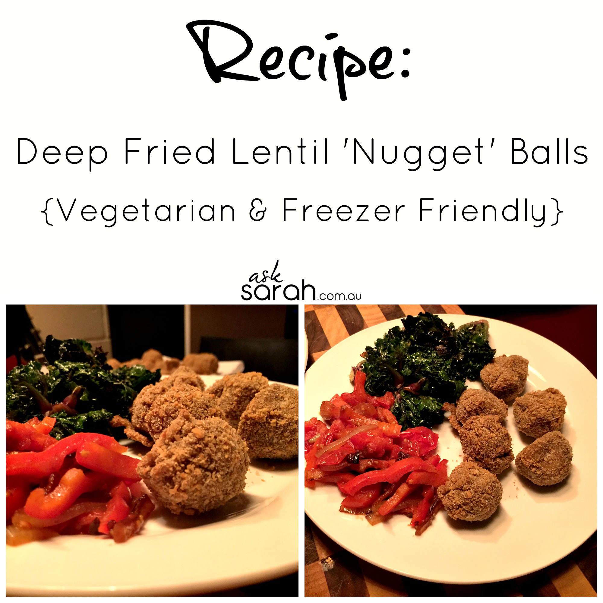 Recipe: Deep Fried Lentil Nugget Balls {Vegetarian & Freezer Friendly}