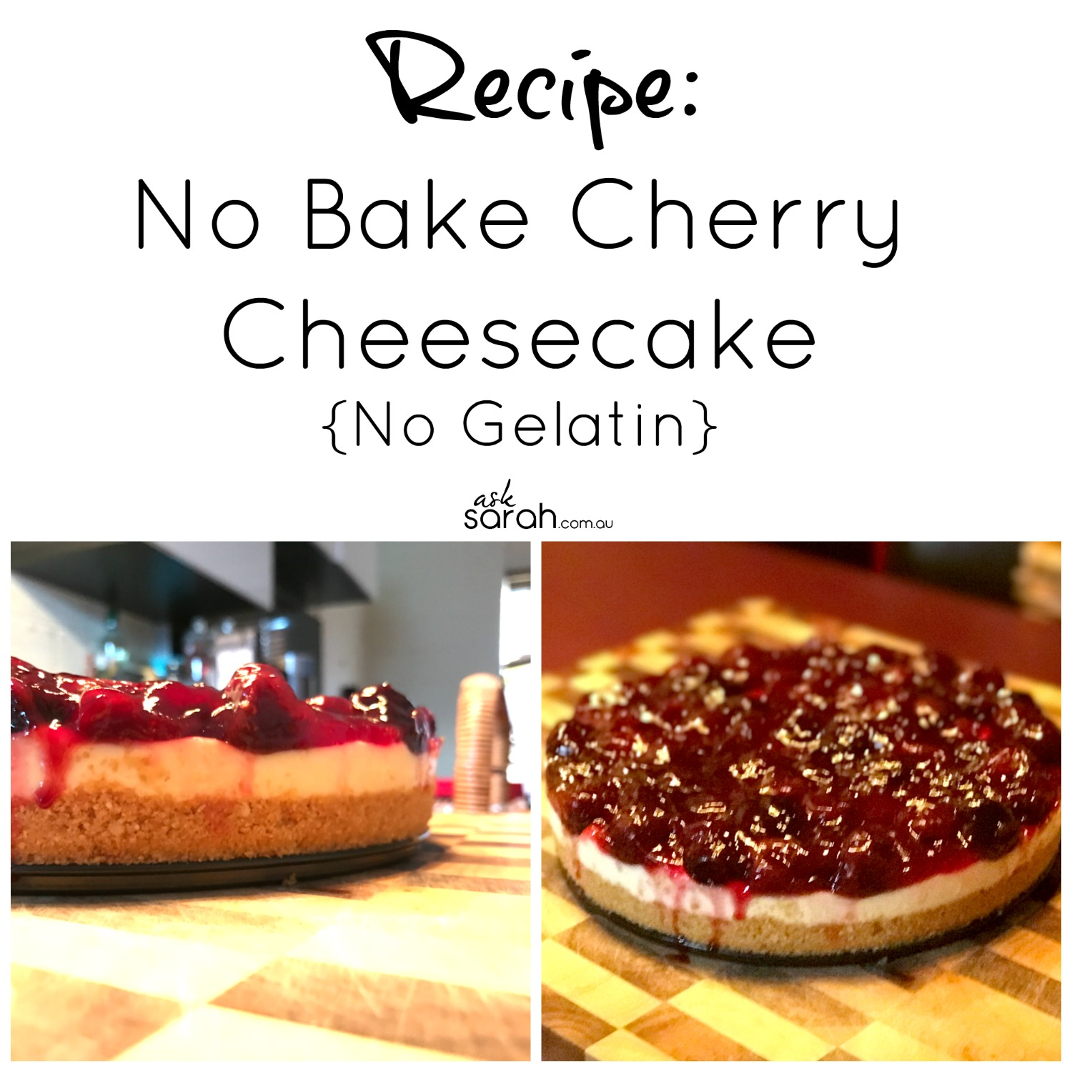 Recipe No Bake Cherry Cheesecake {No Gelatin}