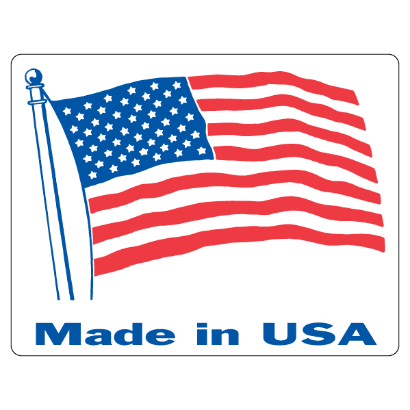 Made In USA Flag Label
