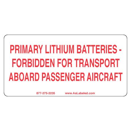 Primary Lithium Battery Forbidden Label