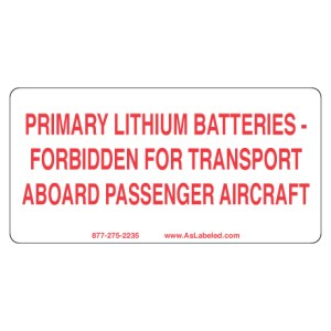 Primary Lithium Battery Forbidden Label