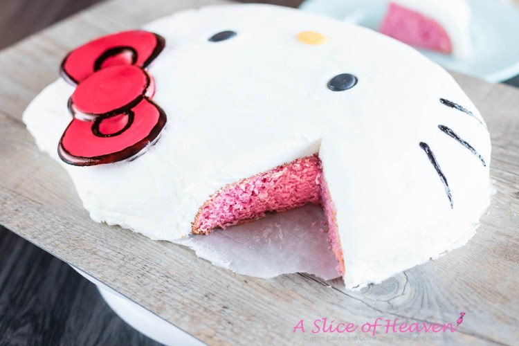 Easy Homemade Hello Kitty Cake -- Pink Inside | A Slice Of Heaven