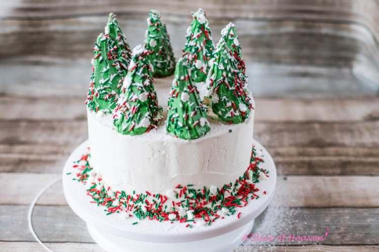 Colorful sprinkles around the cake
