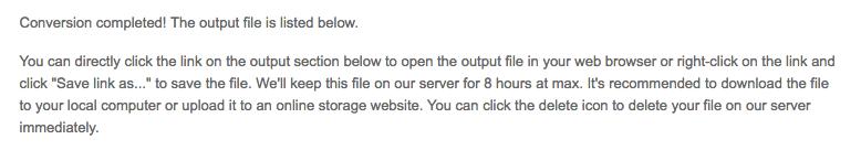 PDF to mobi online converter message