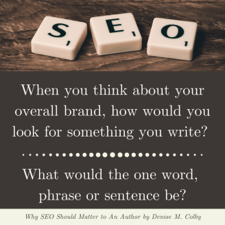 scrabble tiles spelling out SEO and then a Blog Post Quote by Denise M. Colby