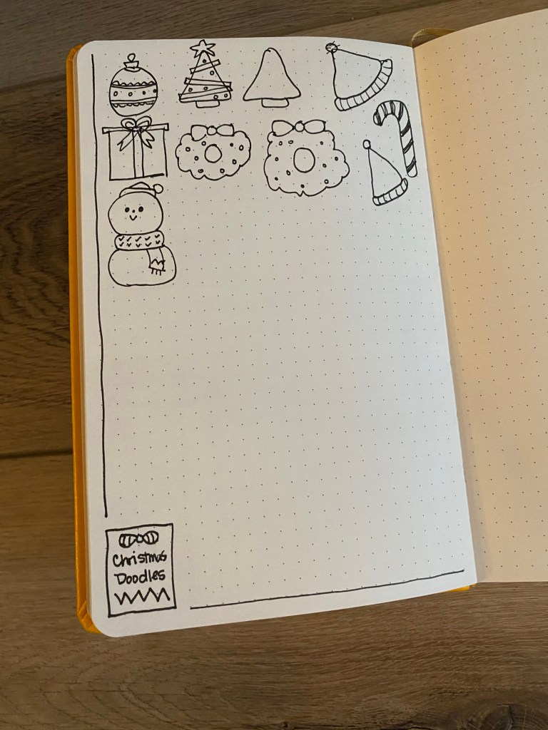 bullet journal page with Christmas doodles