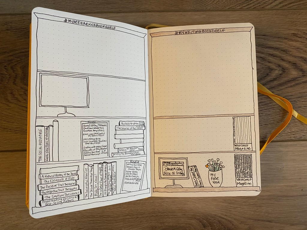bookshelf bullet journal spread idea by Denise M. Colby