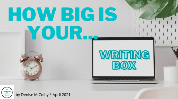 Blog header with white background and laptop open with white screen and Writing Box in it