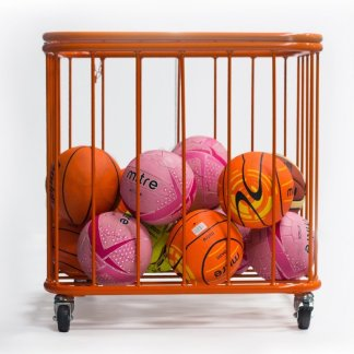 Steel PE storage container, on wheels, holding many sports balls, pictured in orange