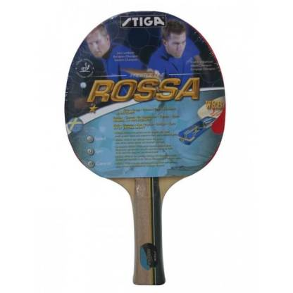 ooden table tennis bat with a cover over reading Stiga Rossa and the product information
