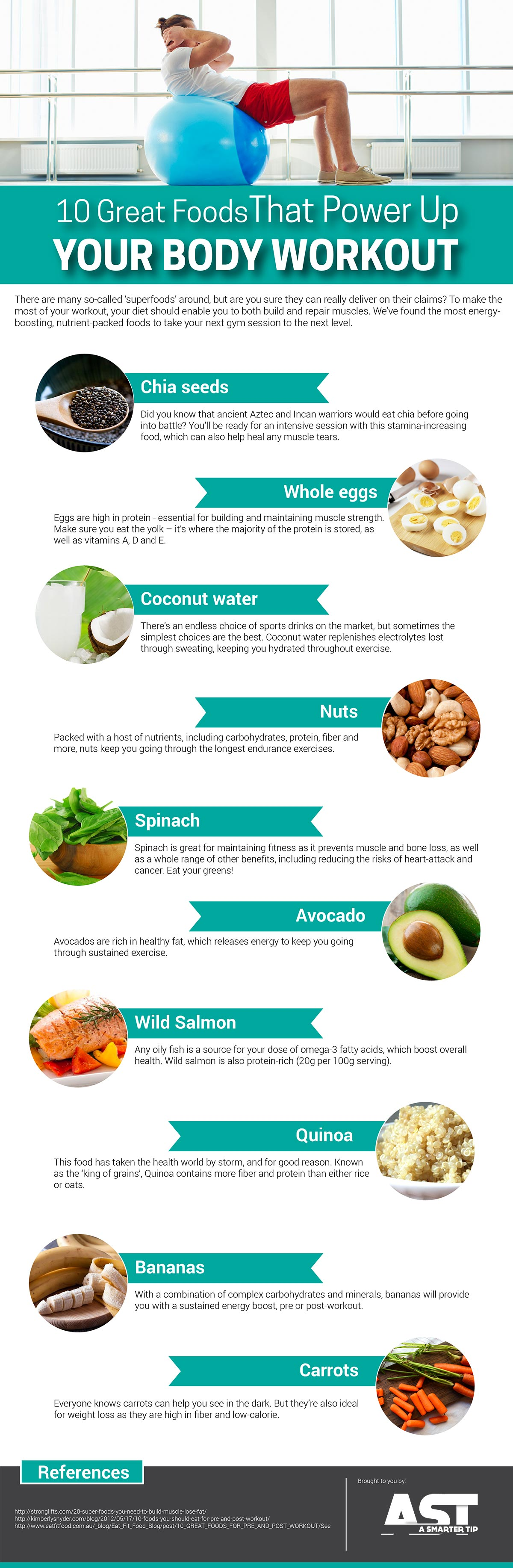 10 Great Foods That Power Up Your Body Workout Infographic