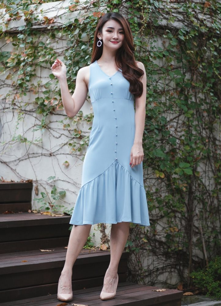 3257df181d7e ELENA BUTTON DOWN DRESS (LIGHT BLUE) S, M, L > A Spoonful Of Clothes