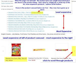 How to use the British Foods Amazon blog posts - best value products are at the top of the list, or the left of the product carousel.