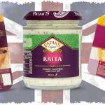 British Curry Accompaniments: Mango Chutney, Mint Raita, Pappadums and Naan Breads