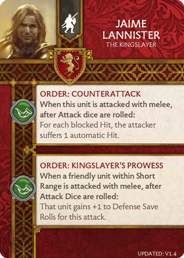Jaime Lannister - The Kingslayer (Verso) 1.4 US