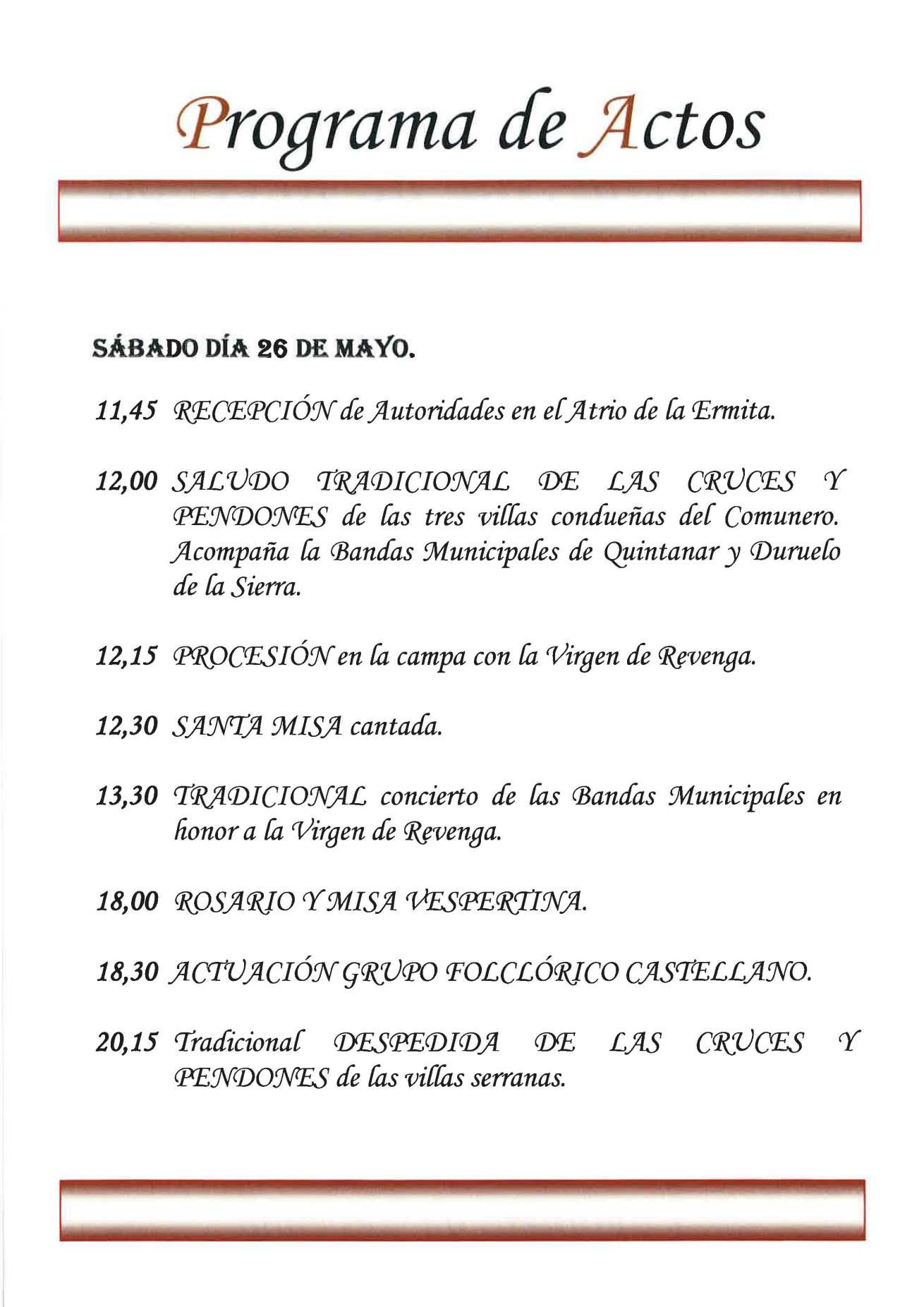 Romería de Nuestra Señora de Revenga este sábado 26 de mayo