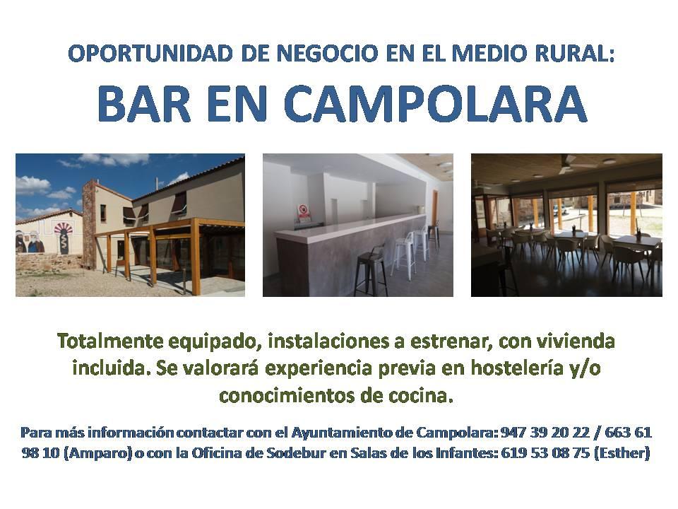 Oportunidad de gestionar el bar de Campolara