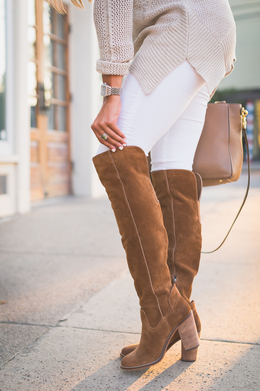 Image result for white jeans over the knee boots 2016
