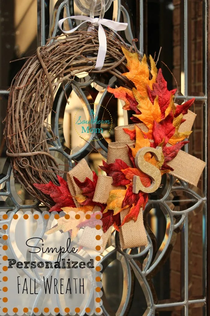 Make your own super easy DIY Fall Wreath for your front door! This DIY fall decor craft is so simple, you can make this one with your kids! Use burlap and fall leaves on a simple wreath frame for a gorgeous fall diy decor item that will last your family for years! #diy #diyfalldecor #falldecor #falldecorideas #fallcrafts