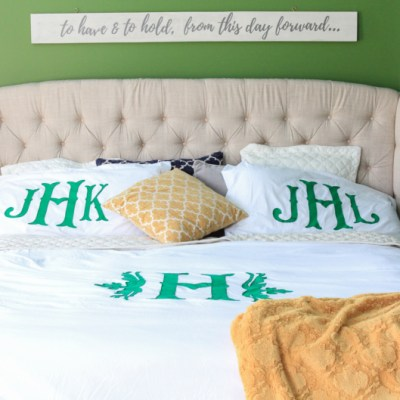 Monogrammed Duvet Tutorial Using Cricut Explore