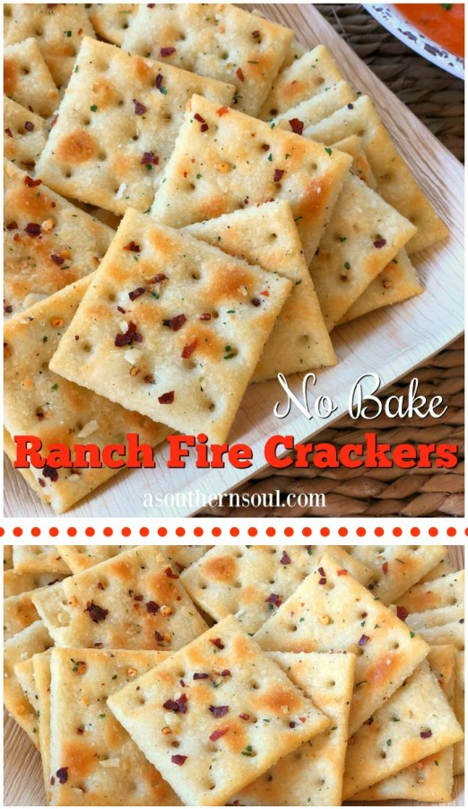 no bake ranch fire crackers made with red pepper