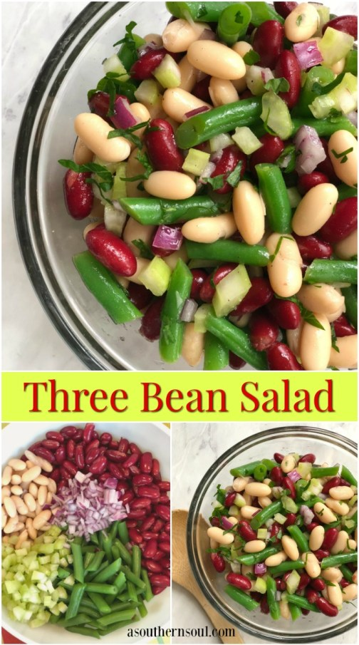 three bean salad with green beans, cannelloni and red beans