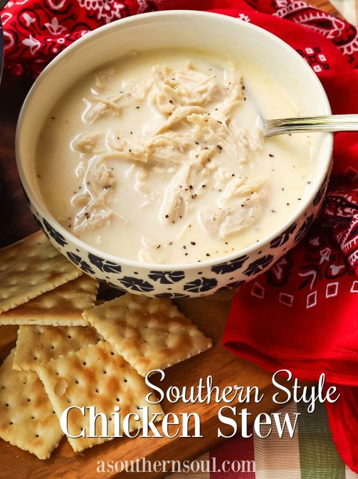 "Classic, ""Southern Style"" recipe has been around for generations. It's full of tender chicken in a creamy broth seasoned with salt and pepper. It's simple, straightforward and absolutely delicious!"
