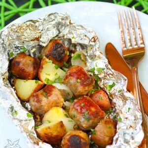 Sausage, potatoes and onions cooked in foil packs on the grill or in the oven are a short cut dinner that can't be beat!