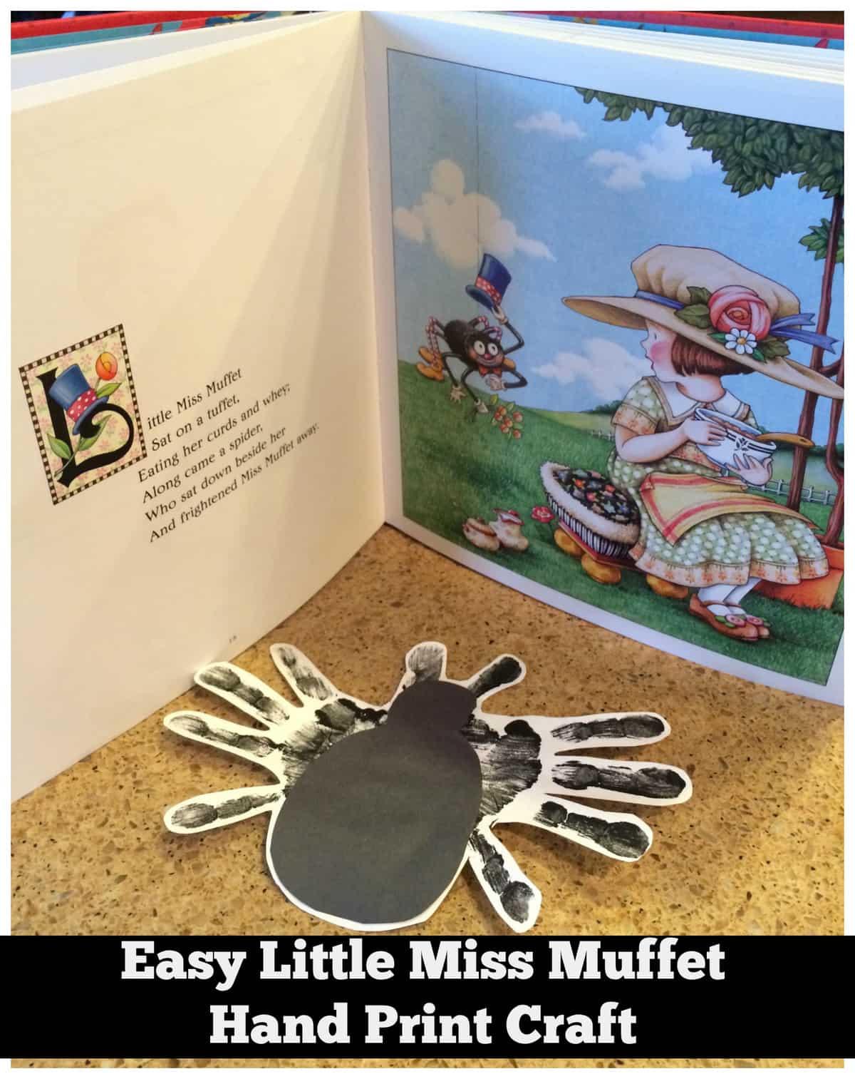 Easy Little Miss Muffet Hand Print Craft