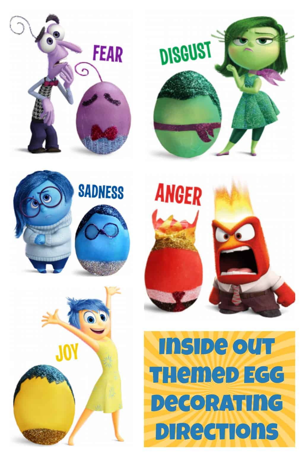 Inside Out Themed Egg Decorating Directions