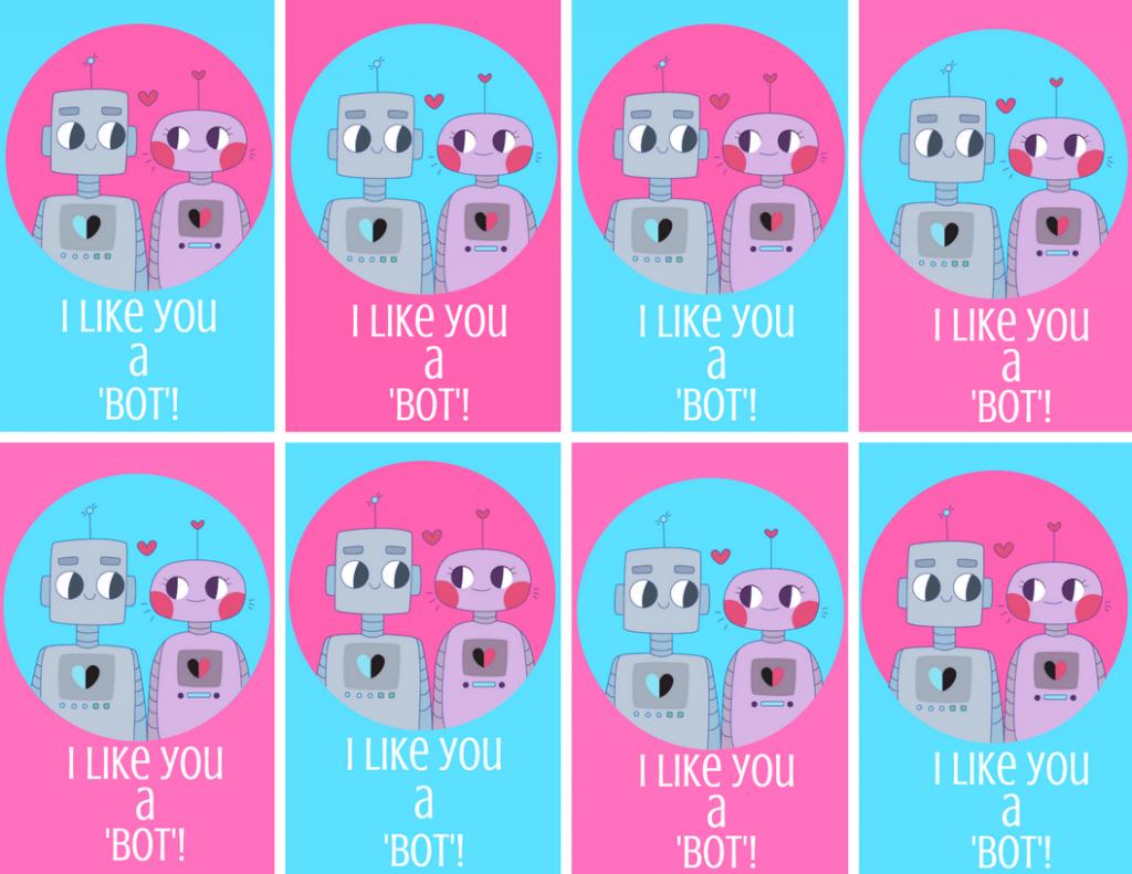 I Like You A Bot Robot Valentine Printable Free Valentine
