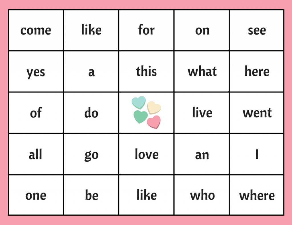 Valentine S Day Sight Word Bingo Free Bingo Board Printable For Teachers