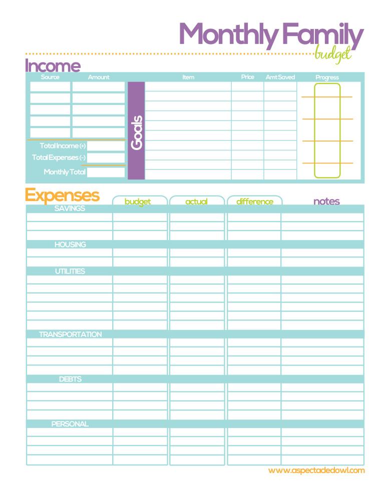 Family Binder Budget Printables Free
