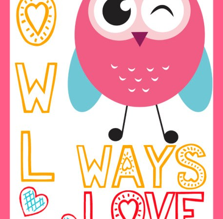 owl printable valentines day cards - Owl Printable