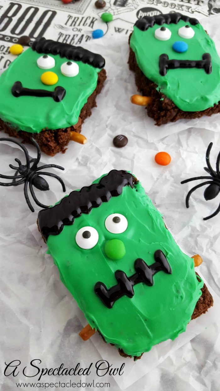 Frankenstein Halloween Brownies - A Spectacled Owl