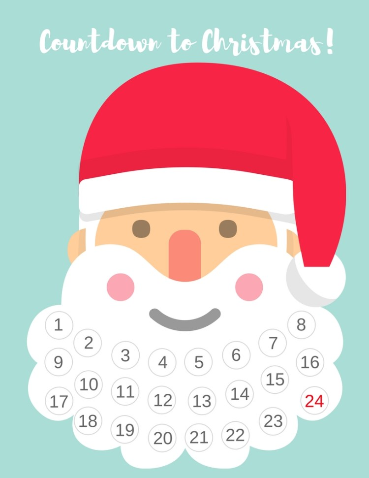Countdown to Christmas Santa Advent Calendar - Free Printable