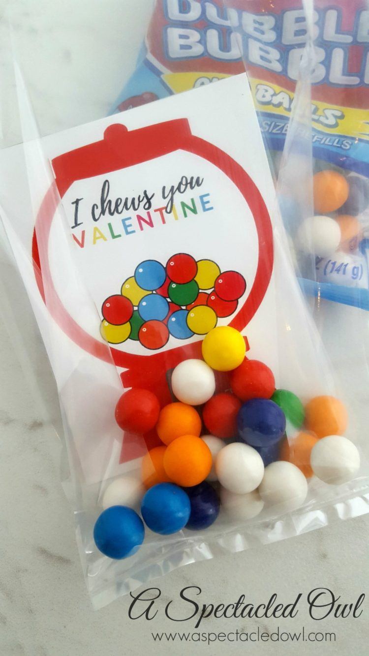 """I Chews You"" Gumball Machine Valentine's Day Card Printable"