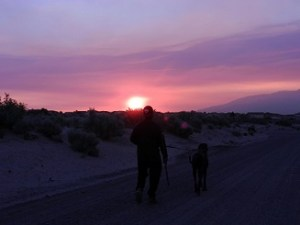 Man and dog walking in smoke filled desert southwest