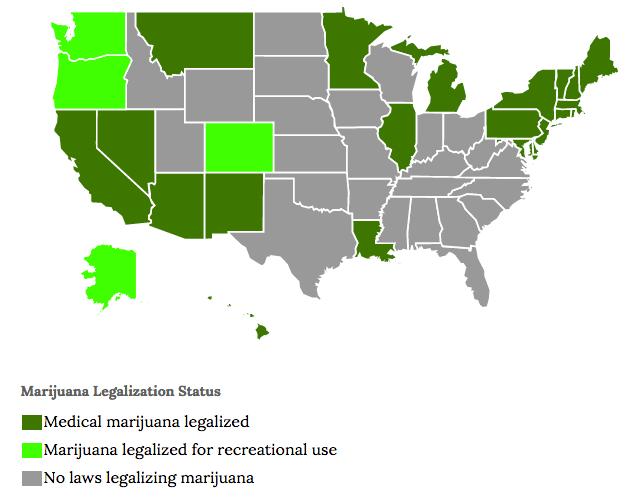 Medical Marijuana States Map 2016.State Marijuana Laws Map The Aspen Institute Mexico