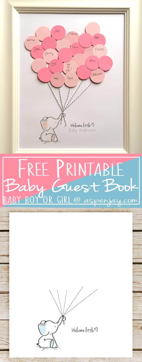 Elephant Baby Shower Guest Book Printable Aspen Jay