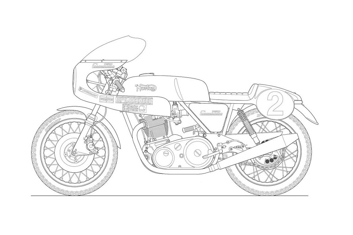 Photos Some Classic Motorcycle Line Art Drawings