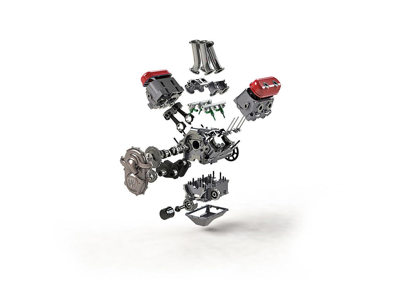 Motus Kmv Motor Exploded on V4 Crate Engine