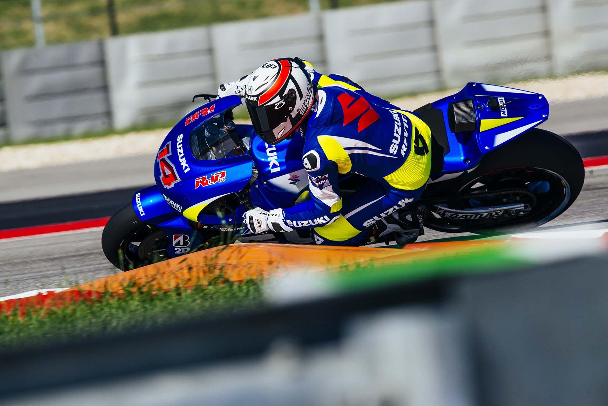 Kevin Schwantz Tests Suzuki XRH-1 MotoGP Bike at COTA, While Randy De Puniet Matches Pace of ...
