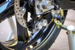 This two-piston rear brake caliper is from Formula and looks super trick. Works pretty good too.