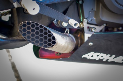 """The standard short pipe exhaust is shown here, but there's a longer """"quiet"""" pipe with a secondary baffle as well."""