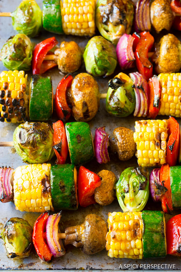 Grilled Fajita Vegetable Skewers Recipe | A Spicy Perspective