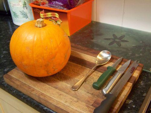 Preparing pumpkin for cupcakes and pumpkin bread